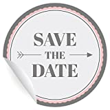 24 tolle Save the Date Aufkleber   Sticker, MATTE universal Papieraufkleber für Einladungen, Etiketten für Tischdeko, Pakete, Briefe und mehr (ø 45mm