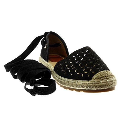 Angkorly Damen Schuhe Espadrilles Sandalen - Offen - Perforiert - Blumen - Seil Flache Ferse 2 cm Schwarz