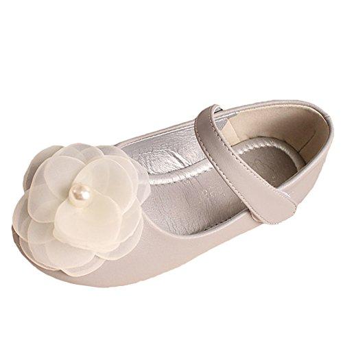 Scothen Princesse nounou bébé ballerines élégantes Party Chaussures enfants Chaussures de danse Fleur chaussures en cuir étudiant fille chaussures de danse chaussures papillon boucle de partie Gris