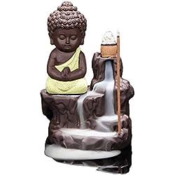 Sdk Céramique Porcelaine Bouddha Backflow Encens Titulaire Backflow Encens Brûleur Tour Cônes Bâtons Titulaire (Color : A)