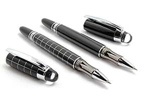 Gold Leaf Exclusive Baoer Shine Black & Checks Starwalker Roller Ball Pen Gift Set