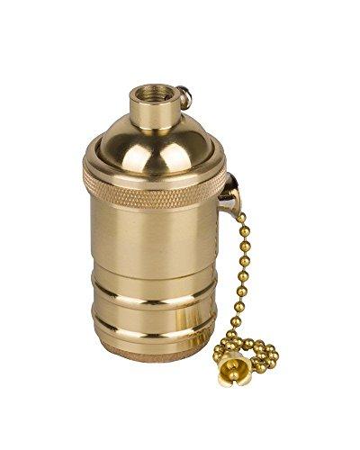 Splink Vintage Lampenfassung E27 Kupfer mit Pull Kette Schalter für Pendelleuchte Hängelampe Halter DIY (Hängelampe Mit Kette)
