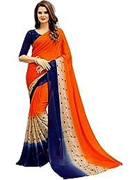 Navya Women's Chiffon Saree With Blouse Piece (Nav325_Multi-Coloured)