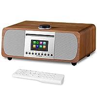LEMEGA M5+ All-In-One HiFi Music System, DAB/DAB+/FM Radio with CD Player, Bluetooth, Internet Radio, Spotify, Headphone-out, USB MP3, AUX, Clock, Alarms, Presets, Remote & App Control - Walnut