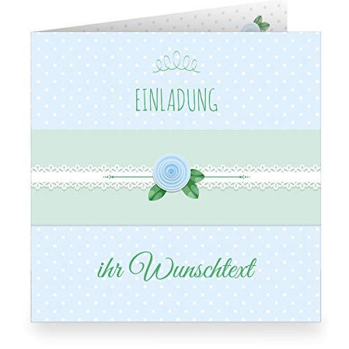 3er Set: Schöne hellblaue Einladungskarte mit Wunschtext und Innendruck/Vordruck zum Ausfüllen (quadratisch 15,5cm + Umschlag) shabby chic - Taufe, Erstkommunion, Einschulung, Firmung