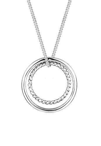 alskette Extra Lange Kette Kreis Ring Geo Basic Trend Silber 925 Länge 80 cm ()