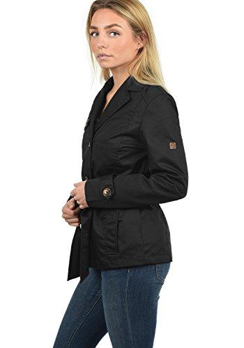 DESIRES Trixie Damen Trenchcoat Mantel kurze Jacke mit Gürtel, Knopfleiste und Umlegekragen aus hochwertiger Materialqualität Black (9000)