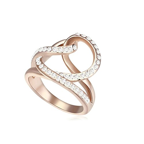 Epinki Damen Ringe, Edelstahl Damenringe Weben Form Verlobungsringe Solitärring Eheringe Weiß mit Zirkonia Gr.57 (Fischer Kostüm Indische)