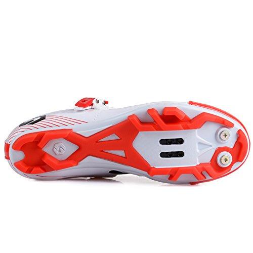 Unisexe respirant chaussures de vélo professionnels pour route et VTT SD-003 Blanc / Rouge pour le VTT