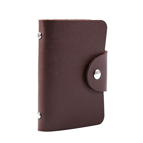 1 Stück PU Leder ID Kreditkarten Visitenkartenetui Tasche Geldbörse Portemonnaie für 24 Karten(Brown) (Anzeigen Baseball)