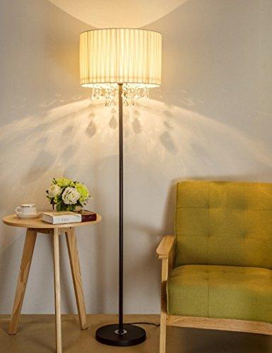 Haupt-lounge (HOMEE European-style Stehleuchte Serie Stoff Schatten vertikale Kristall Stehleuchte moderne Einfachheit europäischen Stil Wohnzimmer Mode kreative Schlafzimmer Nachttischlampe - retro Stehleuchte,Sc)
