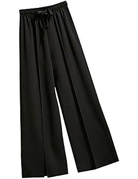 Mujer Pantalones De Pierna Ancha Cintura Alta Casual Pantalon Cordón Suave Pantalón