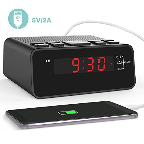 """USB Radiowecker, Digitaler Wecker mit USB Schnellladung, AM/FM Radio, Schlafzeitmesser, Dimmer Einstellbarer Helligkeit, Schlummerfunktion, 0.6"""" Digitaler LED-Bildschirm und Batterie-Backup-Funktion für Schlafzimmer, Büro, Tisch und Stuhl (D251,mit USB)"""