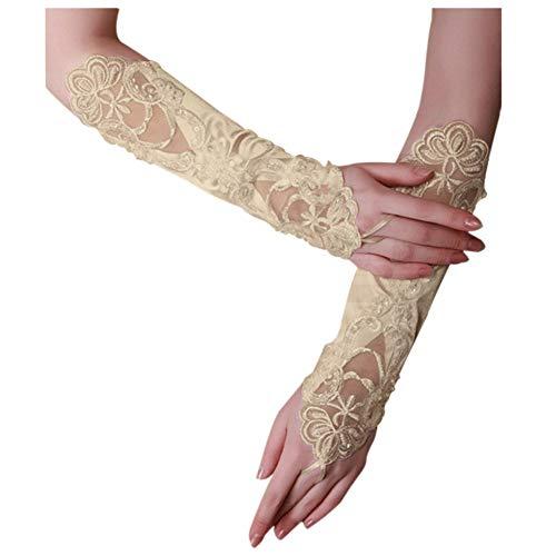 Satin Kostüm Perlen - Caokang Brautparty Fingerlose Perle Spitze Satin Handschuhe Kostüm Champagner,Stil 1
