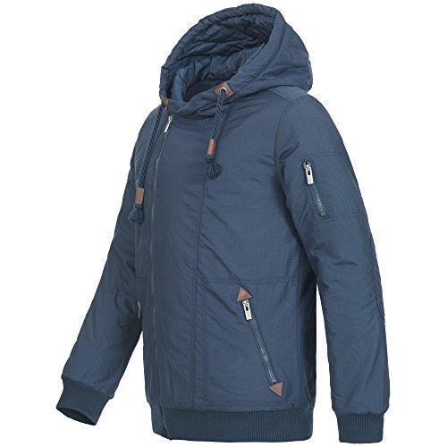 Sublevel Herren Winterjacke Parka Jacke Mantel Winter warm Kapuze asymmetrisch 44309 Gr. S-XXL Blau
