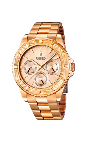 Festina F16786/2 – Men's Analogue Quartz Watch – Stainless Steel Strap Golden and Pink