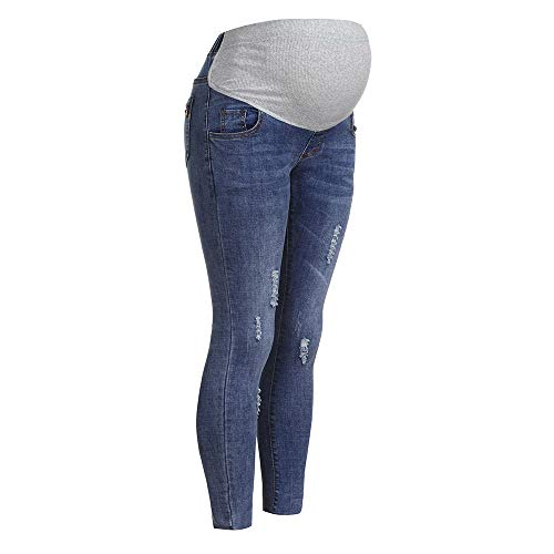STRIR Mujeres Embarazadas Nuevo Otoño Invierno Pantalones elásticos Suaves Leggings Jeans, Circunferencia de Cintura Ajustable Pantalones elásticos Suaves Jeans (XXL, Azul-Claro#0123)