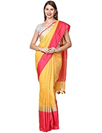 Black Orange Women's Linen Saree with Running Blouse (BO.LSR.YPINK009_Yellow & Pink)
