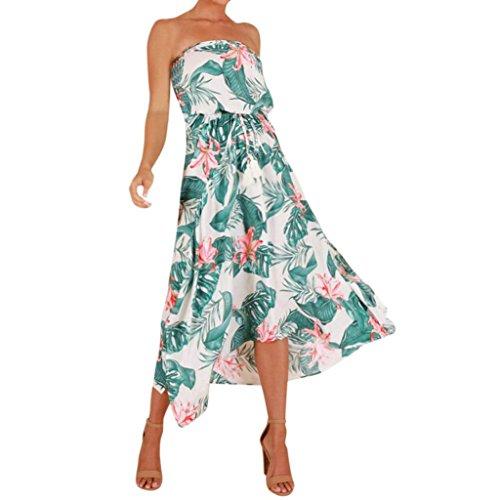 Kleid Damen,Binggong Womens Boho Blumendruck Schulterfrei Kleid Damen Sommer Strand Lace Up Dress Grünes Kleid Sommerkleider Lange Kleider Festlich (S, Grün)