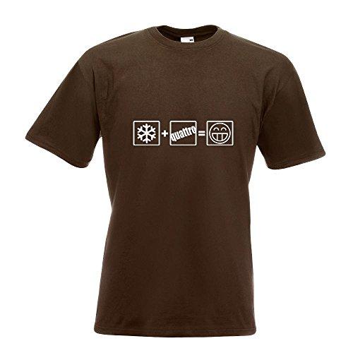 KIWISTAR - Winter Quattro T-Shirt in 15 verschiedenen Farben - Herren Funshirt bedruckt Design Sprüche Spruch Motive Oberteil Baumwolle Print Größe S M L XL XXL Chocolate