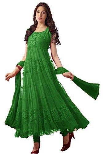 Clickedia Womens Brasso & Net Anarkali Dress Material (Aqua Green Anarkali _Green _Free Size)