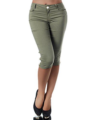 Diva-Jeans N951 Damen Caprihose Treggings Leggings Stoffhose Sommerhose Knielang 3/4 Capri, Größen:S, Farben:Khaki
