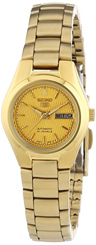 Seiko Women's SYMC18 Seiko 5 Automatic Gold Dial Gold-Tone Stainless Steel Watch