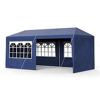 Sekey Garden - Tente de Jardin étanche - 3 x 6 m - Tonnelle de Jardin/Tente de Jardin/soirée/Mariage/Pique-Nique, UV30+, parois latérales - Bleu