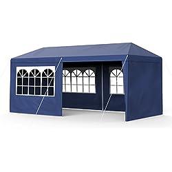 Sekey - Gazebo da Giardino, 3 x 6 m, Impermeabile, Regolabile, per Giardini, Feste, Matrimoni, Picnic, UV30+, pareti Laterali, Colore: Blu