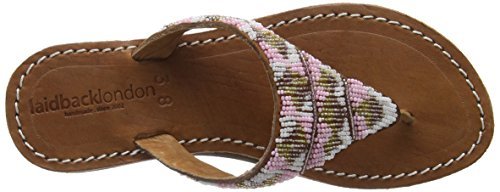 Laidback London 052SS16 CRAINE LP WHITE Damen Offene Sandalen Mehrfarbig (midbrown/gold mix)