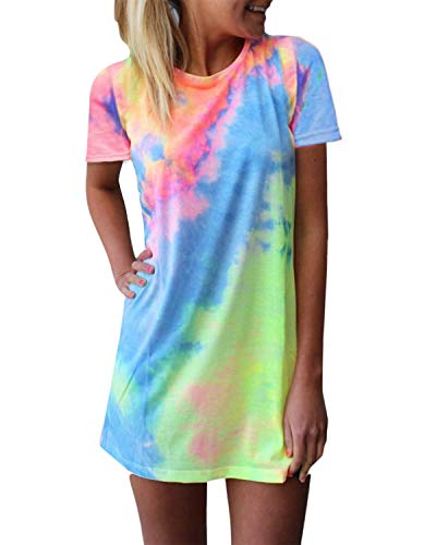 Zanzea Femme Mini Robe de Plage Décontractée Manches Courtes Col Rond d'Été Dégradé de Couleur Robe Tie Dye T-Shirt Casual Tunique 02-Colorful EU 42