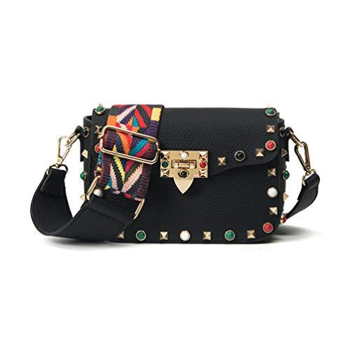 Kleine Tasche Damentaschen Tasche mit Nieten Mini Tasche umhängetasche Handtasche mit Bunter Schultergur