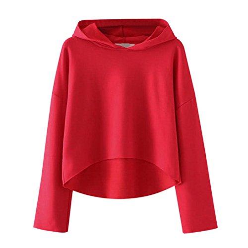 URSING Damen Langarm Hoodie Sweatshirt HIGH LOW Hem Kapuzenpulli Tops Bluse Frauen Feste farbe Super gemütliche Freizeit Kapuzenshirt Oberteile Sweatshirt (XL, Rot) (Sweatshirt Hooded Zurück Bild)