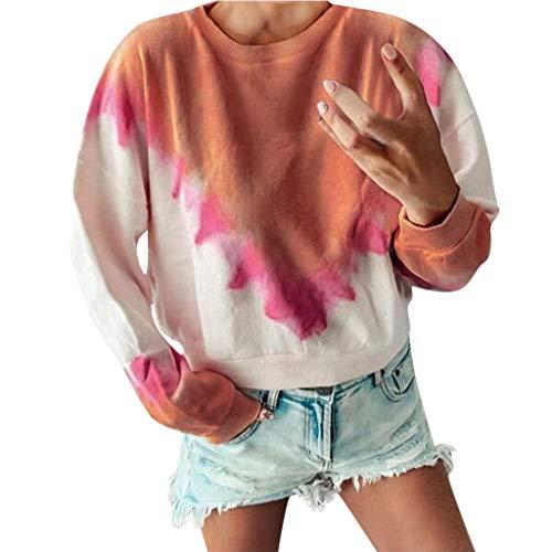 TAMALLU Damen T-Shirts Mode Lässig Bedruckt Leicht Rundkragen Langarm Einfache Tunika(Gelb,L)