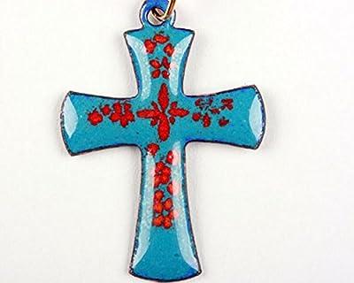 Pendentif croix latine bleu fleur rouge émail sur cuivre