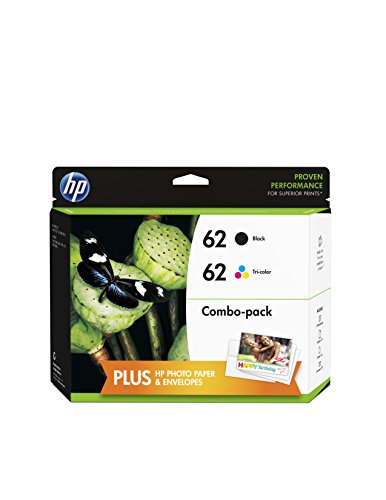 HP 62 (F6U00FN) Black/Tri-color Original Ink Cartridges with Photo Paper...