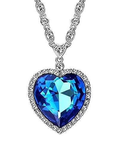Neoglory Jewellery Made With SWAROVSKI Elements Aquamarine Crystal Ocean Heart