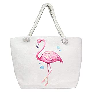 Auliné Collection Womens Fashion Casual Travel Beach Shoulder Tote Bag Handbag - Flamingo