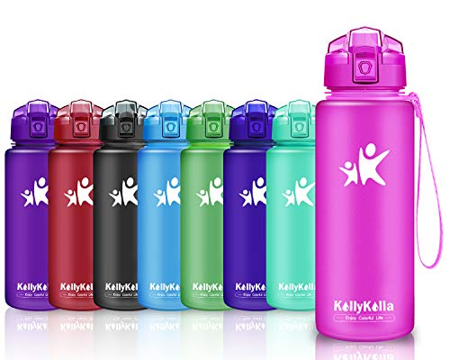 KollyKolla Trinkflasche Sport BPA-frei Auslaufsicher Wasserflasche, 750ml Tritan Sportflasche Kunststoff mit Filter für Kinder, Schule, Mädchen, Wasser, Fahrrad, Gym, Yoga, Matte Lila-3