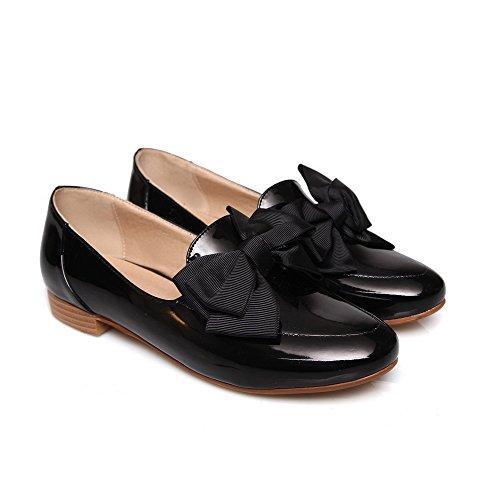 VogueZone009 Femme Verni Tire Rond Couleur Unie à Talon Bas Chaussures Légeres Noir