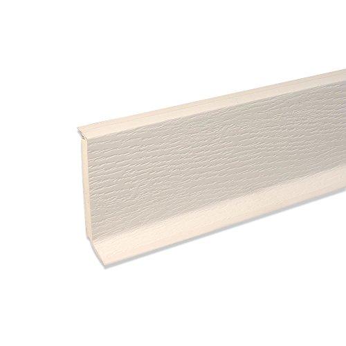 Hartschaum-Sockelleiste Fußbodenleiste aus Kunststoff in Weiß 2500 x 60 x 15 mm