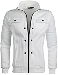 Sourcingmap Men Stand Collar Front Zipper Closure Muti Pockets Long Sleeves Jacket
