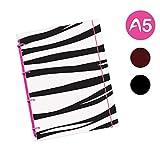 flexinotes-Cuaderno (A5, tipo: Zebra, Yema de huevo, 125hojas cuadros-Anillo M, color rosa