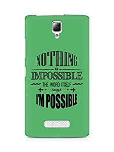 AMEZ Nothing is Impossible Back Cover For Lenovo A2010