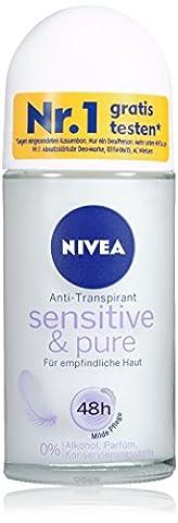 Nivea Deo Sensitive und Pure Deoroller, Antitranspirant, Doppelpack, 1er Pack (2 x 50 ml)
