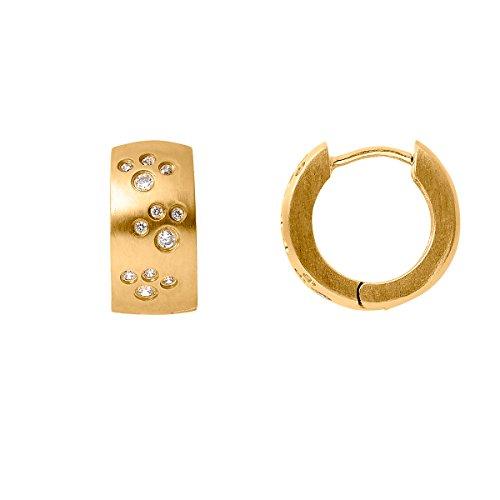 Heideman Ohrringe Damen Astrum aus Edelstahl gold farbend matt Ohrstecker für Frauen mit Swarovski Stein Zirkonia weiss rund 1,5mm