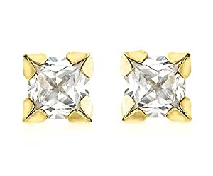 Carissima Gold 9ct Yellow Gold 4mm Square Cubic Zirconia Stud Earrings