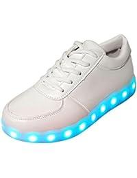 [Presente:pequeña toalla]Blanco EU 36, manera JUNGLEST® Blancos Luminous LED Deporte Cordones Altas Zapa