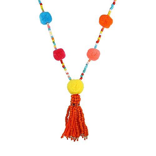 Lureme Mujeres Bohemio hecho a mano de colores Pom Pom largo collar de borlas de cadena con cuentas (nl005629)