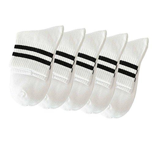 FNKDOR 5 Paar Unisex Socken Bequeme Strümpfe Herren Damen Sneaker Baumwollsocken (Weiß)